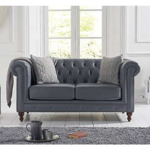 Montrose Faux Leather 2 Seater Sofa In Grey