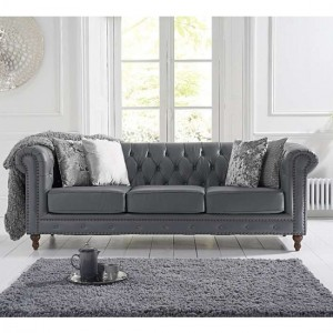 Montrose Faux Leather 3 Seater Sofa In Grey