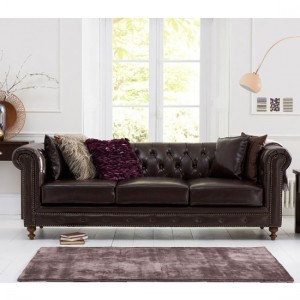 Montrose Faux Leather 3 Seater Sofa In Brown