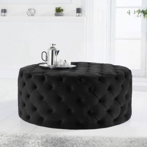 Montrose Large Round Velvet Footstool In Black