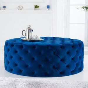 Montrose Large Round Velvet Upholstered Footstool In Blue