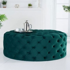 Montrose Large Round Velvet Upholstered Footstool In Green