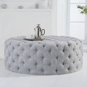 Montrose Large Round Velvet Upholstered Footstool In Grey Plush