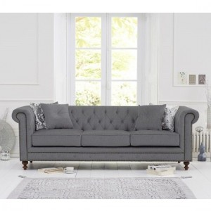 Montrose Linen Fabric Upholstered 3 Seater Sofa In Grey