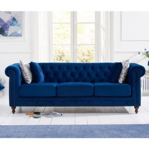 Montrose Plush Fabric Upholstered 3 Seater Sofa In Blue