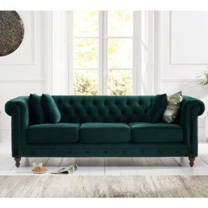 Montrose Plush Fabric Upholstered 3 Seater Sofa In Green