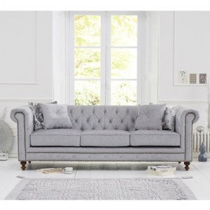 Montrose Plush Fabric Upholstered 3 Seater Sofa In Grey