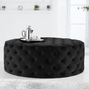 Montrose Round Velvet Footstool In Black