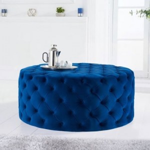 Montrose Round Velvet Upholstered Footstool In Blue