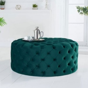 Montrose Round Velvet Upholstered Footstool In Green