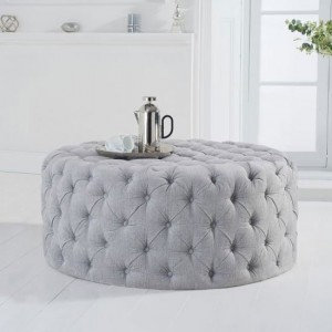 Montrose Round Velvet Upholstered Footstool In Grey Plush