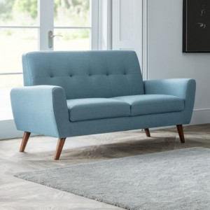 Monza Linen Fabric Upholstered 2 Seater Sofa In Blue
