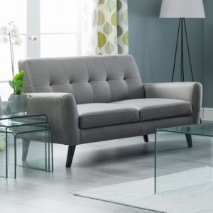 Monza Linen Fabric Upholstered 2 Seater Sofa In Grey