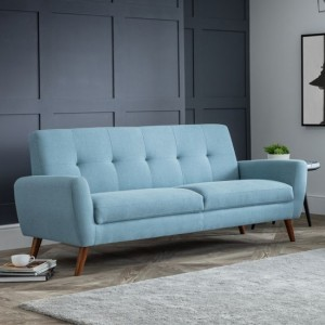 Monza Linen Fabric Upholstered 3 Seater Sofa In Blue