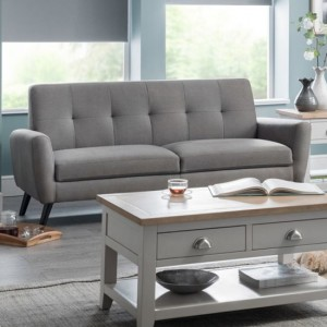 Monza Linen Fabric Upholstered 3 Seater Sofa In Grey