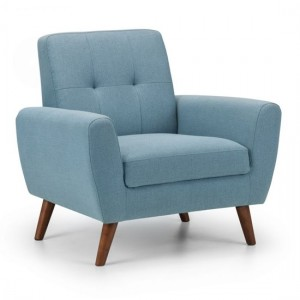 Monza Linen Fabric Upholstered Armchair In Blue