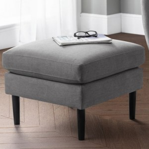 Monza Linen Fabric Upholstered Ottoman In Grey