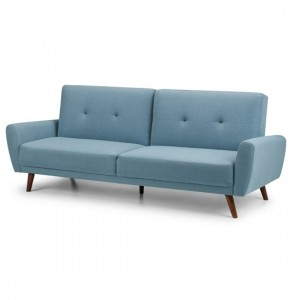 Monza Linen Fabric Upholstered Sofabed In Blue
