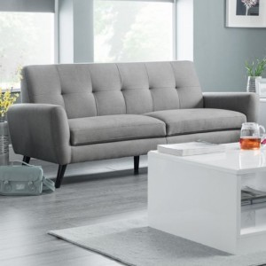 Monza Linen Fabric Upholstered Sofabed In Grey