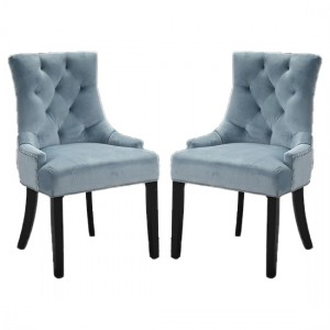 Morgan Blue Fabric Dining Chairs In Pair