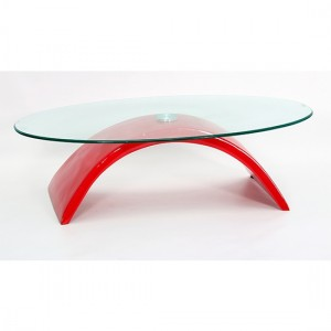 Morgan Glass Coffee Table With Red High Gloss Base