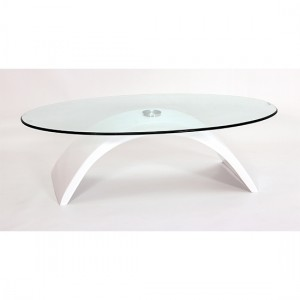 Morgan Glass Coffee Table With White High Gloss Base