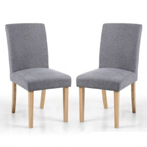 Morton Light Grey Linen Effect Fabric Dining Chairs In Pair