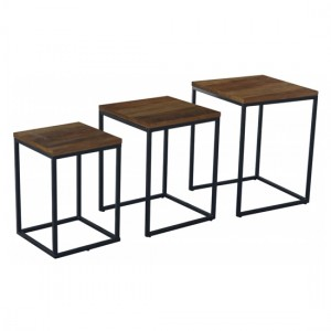 Moseley Nest Of Tables In Oak Effect With Black Metal Legs