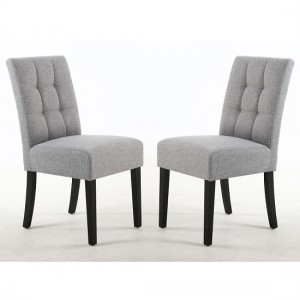 Moseley Silver Grey Fabric Dining Chairs In Pair With Black Legs
