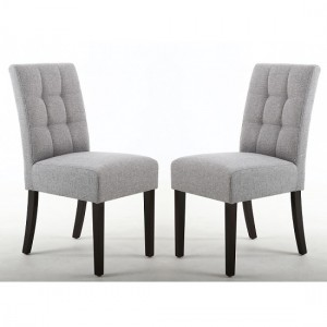 Moseley Silver Grey Fabric Dining Chairs In Pair With Brown Legs