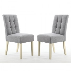 Moseley Silver Grey Fabric Dining Chairs In Pair With Cream Legs