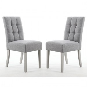 Moseley Silver Grey Fabric Dining Chairs In Pair With Grey Legs