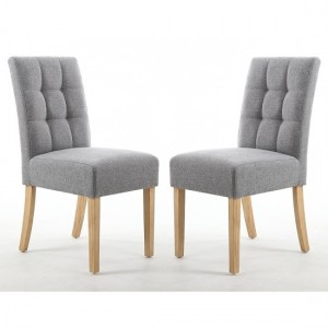 Moseley Silver Grey Fabric Dining Chairs In Pair With Natural Legs