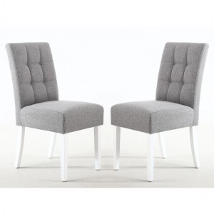 Moseley Silver Grey Fabric Dining Chairs In Pair With White Legs