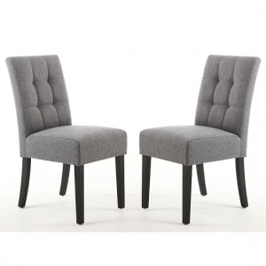 Moseley Steel Grey Fabric Dining Chairs In Pair With Black Legs