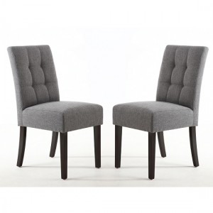 Moseley Steel Grey Fabric Dining Chairs In Pair With Brown Legs