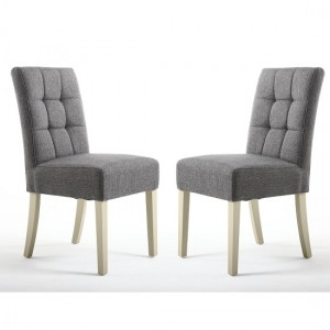 Moseley Steel Grey Fabric Dining Chairs In Pair With Cream Legs
