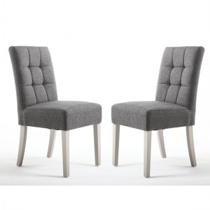 Moseley Steel Grey Fabric Dining Chairs In Pair With Grey Legs