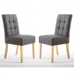 Moseley Steel Grey Fabric Dining Chairs In Pair With Natural Legs