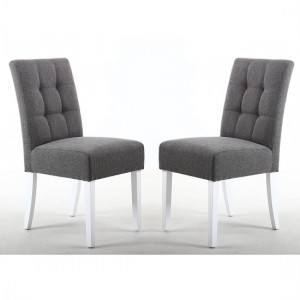 Moseley Steel Grey Fabric Dining Chairs In Pair With White Legs