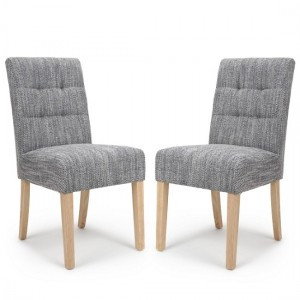 Moseley Tweed Grey Fabric Dining Chairs In Pair With Natural Legs