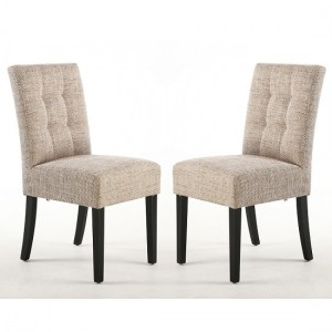 Moseley Tweed Oatmeal Fabric Dining Chairs In Pair With Black Legs