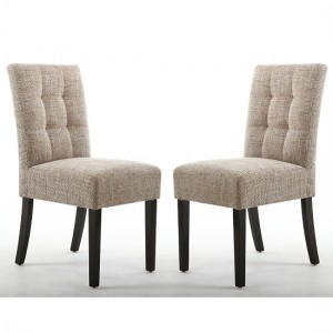 Moseley Tweed Oatmeal Fabric Dining Chairs In Pair With Brown Legs