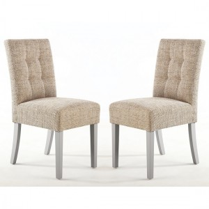 Moseley Tweed Oatmeal Fabric Dining Chairs In Pair With Grey Legs