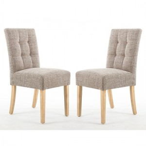 Moseley Tweed Oatmeal Fabric Dining Chairs In Pair With Natural Legs