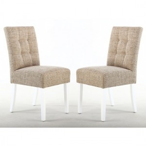 Moseley Tweed Oatmeal Fabric Dining Chairs In Pair With White Legs