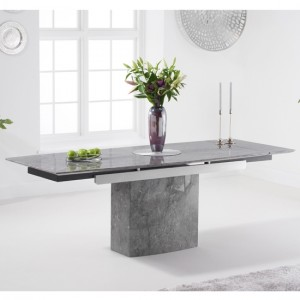 Mozart 160cm Extending Marble Dining Table In Grey