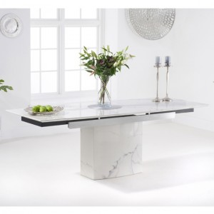 Mozart 160cm Extending Marble Dining Table In White