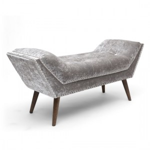 Mulberry Medium Crushed Velvet Lounge Chaise Chair In Silver