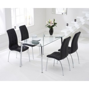 Destiny Glass Dining Table In Clear With 4 California Black Chairs
